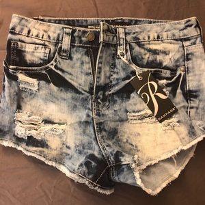 Rampage distressed jean shorts